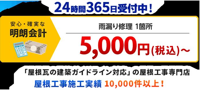 雨漏り修理1箇所 10,000円(税別)~